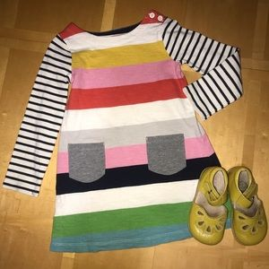 👧🏼 Mini Boden Fun Striped Tunic Dress w/ Pockets